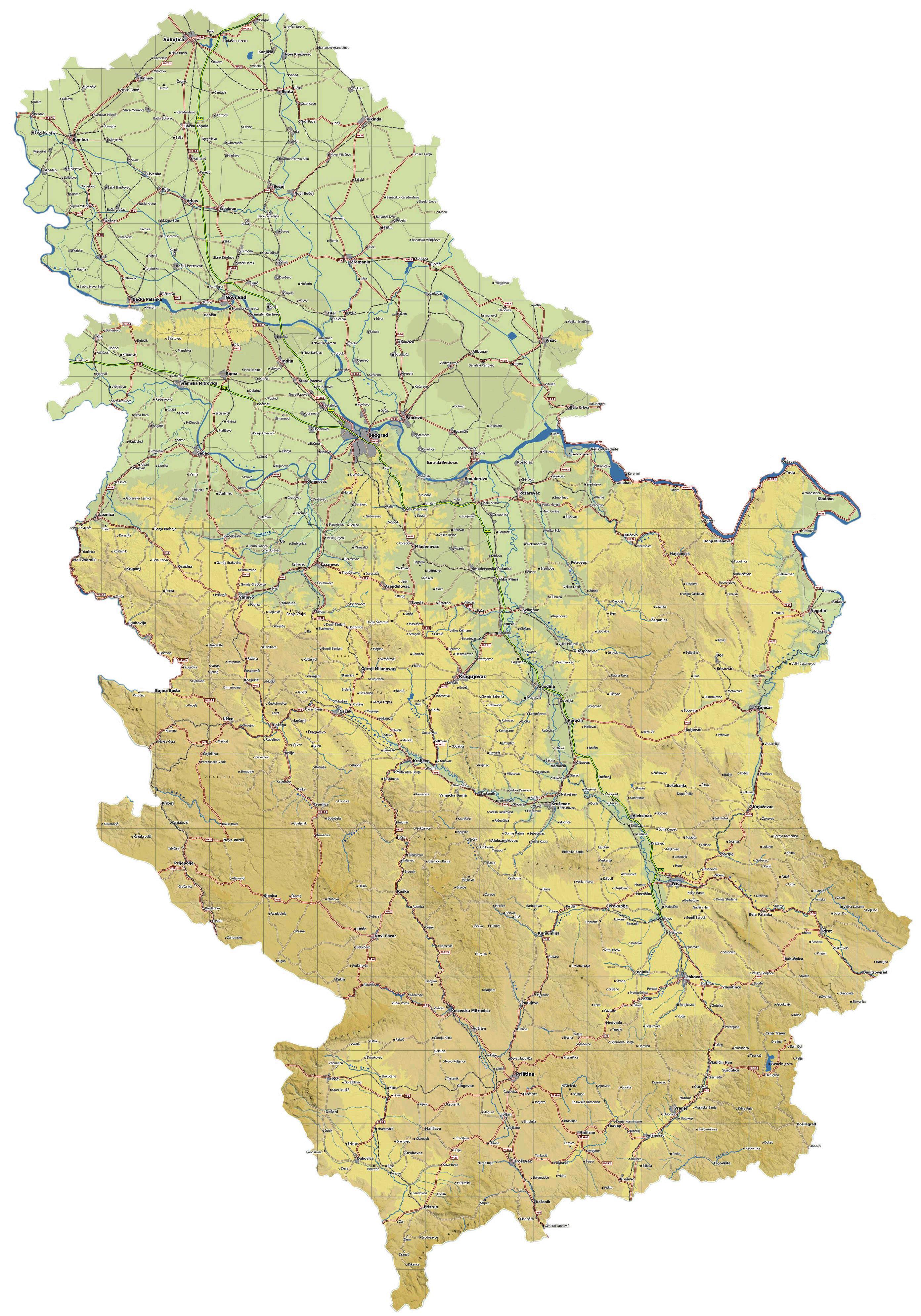Auto Mapa Vojvodine Auto Mapa Srbije Srbija Mapa